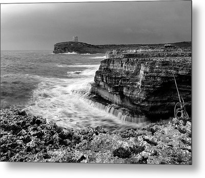 Metal Print featuring the photograph stormy sea - Slow waves in a rocky coast black and white photo by pedro cardona by Pedro Cardona