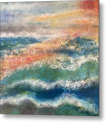 Metal Print featuring the painting Stormy Seas by Kim Nelson