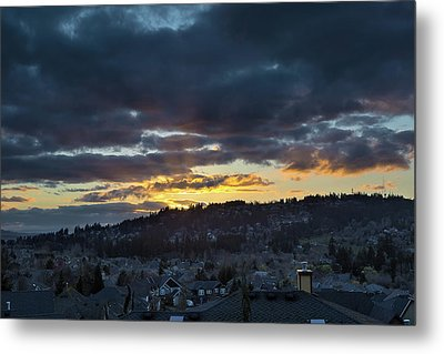 Stormy Sunset Over Happy Valley Oregon Metal Print by David Gn