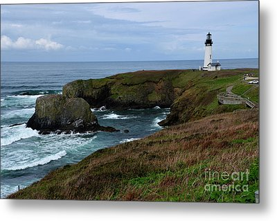 Stormy Yaquina Head Lighthouse Metal Print