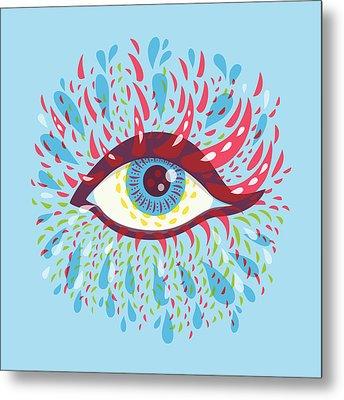 Strange Blue Psychedelic Eye Metal Print by Boriana Giormova