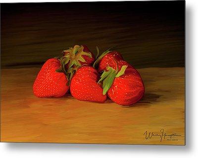 Strawberries 01 Metal Print by Wally Hampton