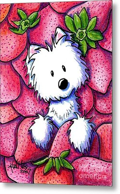 Strawberries N Cream Metal Print by Kim Niles