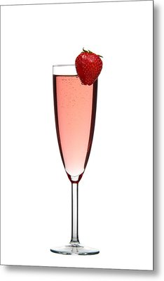 Strawberry Champagne Metal Print