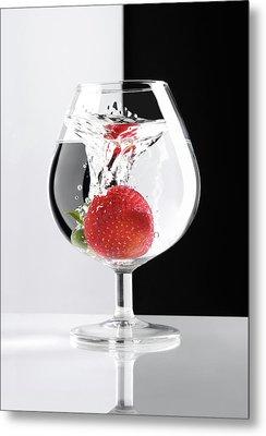Strawberry In A Glass Metal Print by Oleksiy Maksymenko