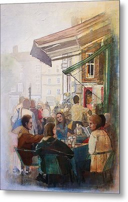 Street Cafe Metal Print by Victoria Heryet