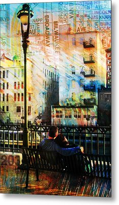 Street Lamp Bench Abstract W Map Metal Print