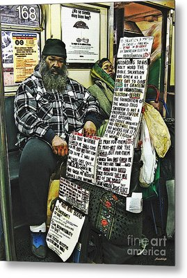 Street Preacher On The A Train Metal Print by Sarah Loft
