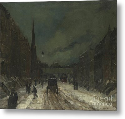 Street Scene With Snow  57th Street, Nyc Metal Print