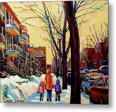 Streets Of Montreal Rue Debullion  Winter In The Plateau Metal Print by Carole Spandau