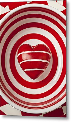 Striped Heart In Bowl Metal Print by Garry Gay