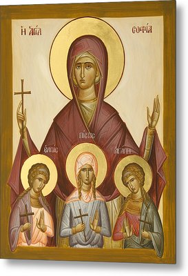 Sts Sophia Faith Hope And Love Metal Print by Julia Bridget Hayes