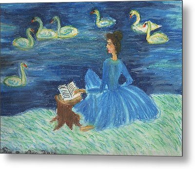 Study For Swan Lake Reader Metal Print by Sushila Burgess