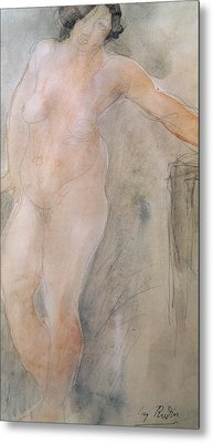 Study Of A Female Nude Metal Print by Auguste Rodin