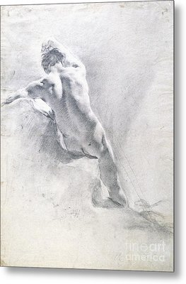 Study Of A Male Nude Metal Print by  Giambattista Piazzetta