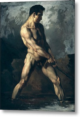 Study Of A Male Nude Metal Print by Theodore Gericault