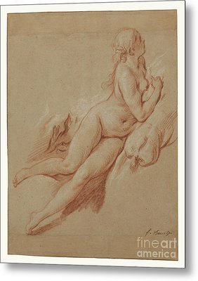 Study Of A Reclining Nude By Francois Boucher Metal Print by Esoterica Art Agency