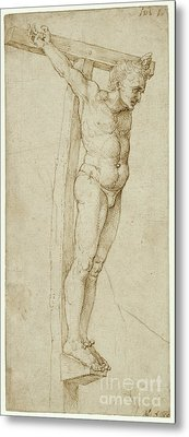 Study Of The Good Thief By Albrecht Durer Metal Print by Esoterica Art Agency