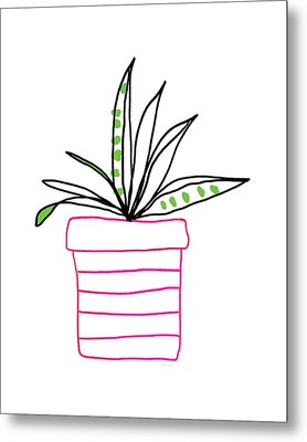 Succulent In A Pink Pot- Art By Linda Woods Metal Print by Linda Woods