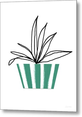 Succulent In Green Pot 3- Art By Linda Woods Metal Print