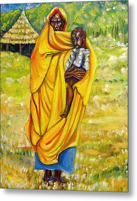 Sudanese Mother And Child Metal Print by George Chacon