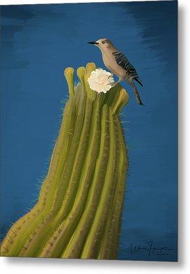 Sugaro Cactus And Cactus Wren Metal Print by Wally Hampton