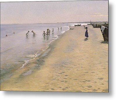 Summer Day At The South Beach Of Skagen Metal Print by Peder Severin Kroyer