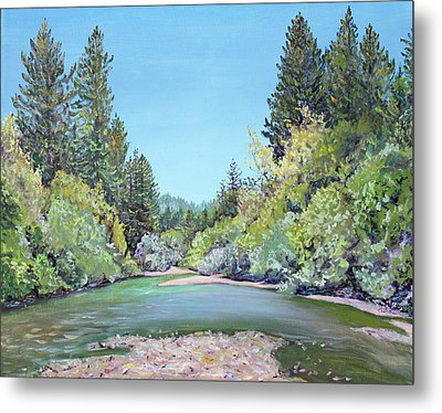Summer Day On The Gualala River Metal Print by Asha Carolyn Young
