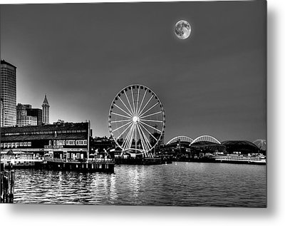 Summer Eve On The Seattle Waterfront Metal Print by Greg Sigrist