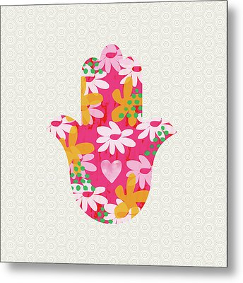 Summer Garden Hamsa- Art By Linda Woods Metal Print