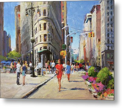 Summer Morning At Flatiron Plaza Metal Print