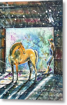 Metal Print featuring the painting Summer Morning At The Barn by Zaira Dzhaubaeva