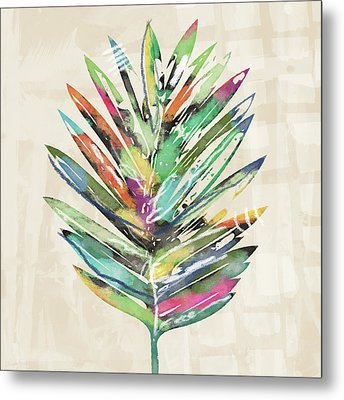 Summer Palm Leaf- Art By Linda Woods Metal Print by Linda Woods