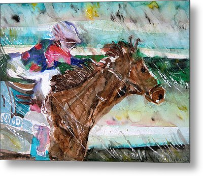 Summer Squall Horse Racing Metal Print by Mindy Newman