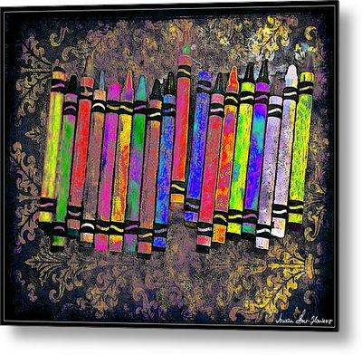 Metal Print featuring the digital art Summer's Crayon Love by Iowan Stone-Flowers