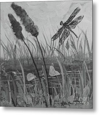 Metal Print featuring the painting Summertime Dragonfly Black And White by Robin Maria Pedrero