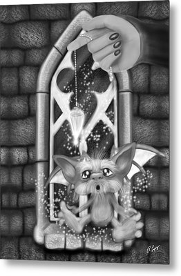 Summoned Pet - Black And White Fantasy Art Metal Print by Raphael Lopez
