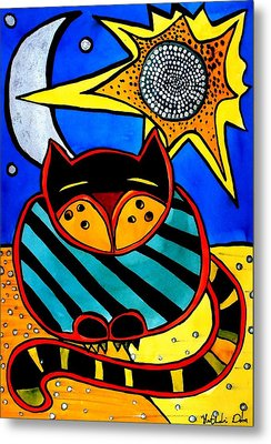 Metal Print featuring the painting Sun And Moon - Honourable Cat - Art By Dora Hathazi Mendes by Dora Hathazi Mendes