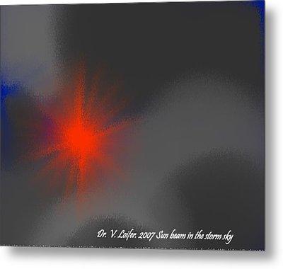 Sun Beam In The Storm Sky Metal Print by Dr Loifer Vladimir