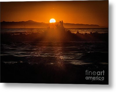 Sun Setting Behind Santa Cruz Island Metal Print