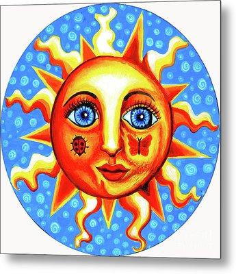 Sunface With Ladybug Metal Print