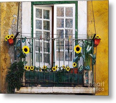 Sunflower Balcony Metal Print