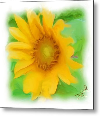 Metal Print featuring the painting Sunflower by Shelley Bain