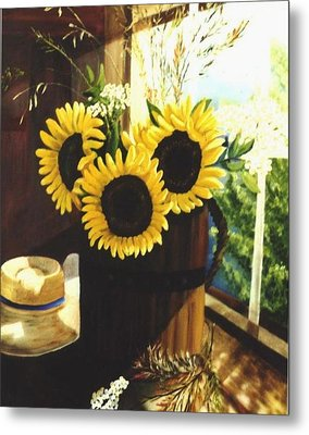 Metal Print featuring the painting Sunflower Sill by Renate Nadi Wesley