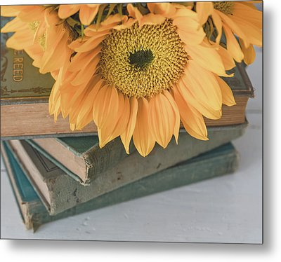 Metal Print featuring the photograph Sunflowers And Books by Kim Hojnacki