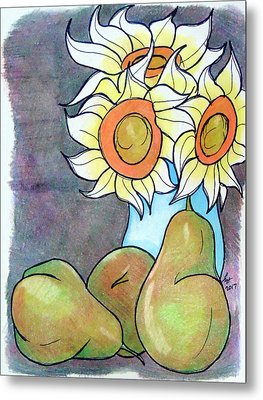 Sunflowers And Pears Metal Print by Loretta Nash