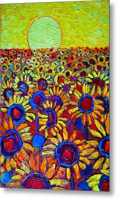 Sunflowers Field At Sunrise Metal Print