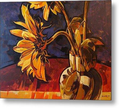 Sunflowers In Italian Vase Take Two Metal Print by Tim  Heimdal