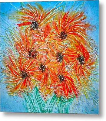 Sunflowers Metal Print by Marie Halter