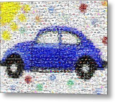 Sunny Blue Vw Bug Mosaic Metal Print by Paul Van Scott